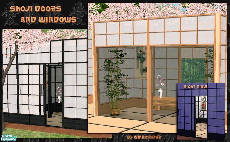set of doors and windows made to look like traditional japanese shoji walls also included