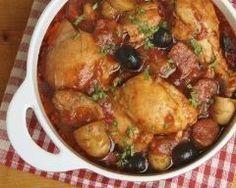 Poulet, légumes et olives en cocotte