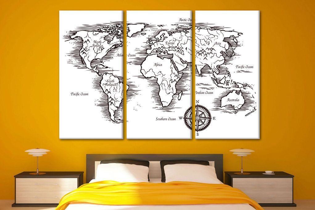 Canvas maps Custom canvas wall art Atlas map wall art Large map wall ...