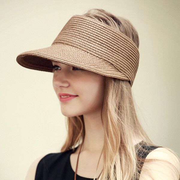 8c63a0f72e8125 Fashion sun visor hat for women summer package straw hat for travel ...