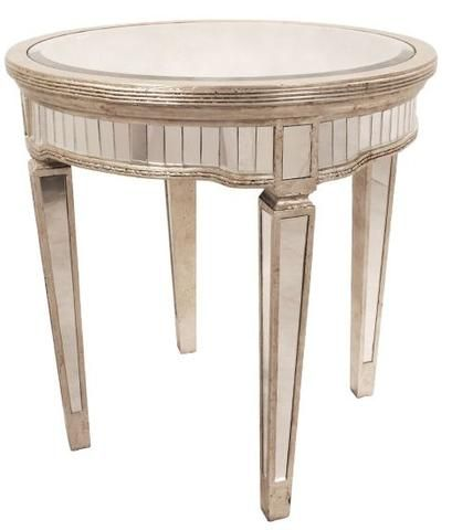 Deana Round Mirrored Side Table Antique Ds 41124 Shine Mirrors