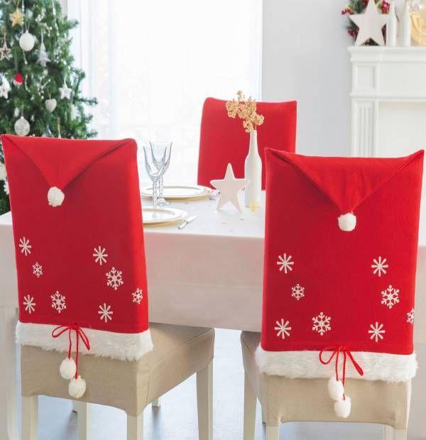 4 housses de chaise Bonnet Père Noël | Mes etiquettes | Pinterest on