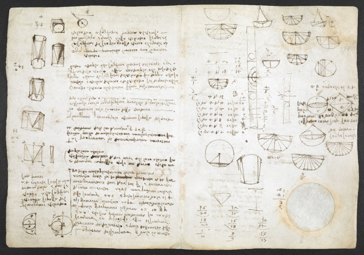 f. 198, displayed as an open bifolium with f. 197v: diagrams