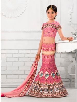 68e86d24a60 Girl s Pink Color Lehenga Cholis With Printed Work