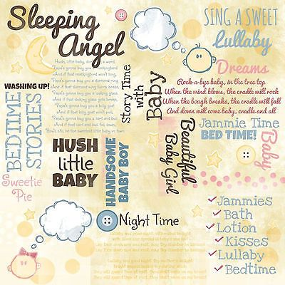 Karen Foster BEDTIME COLLAGE 12x12 Scrapbooking Papers 2 SHEETS FOR 99 CENTS!