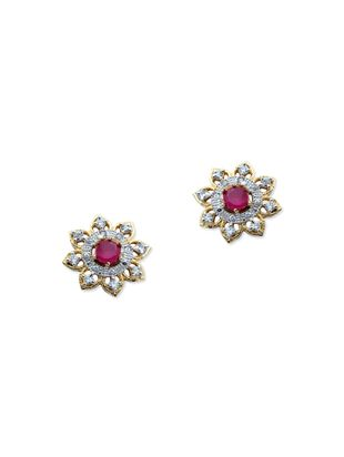Silver Pink Br Stone Studs Earring Online Ping For Earrings
