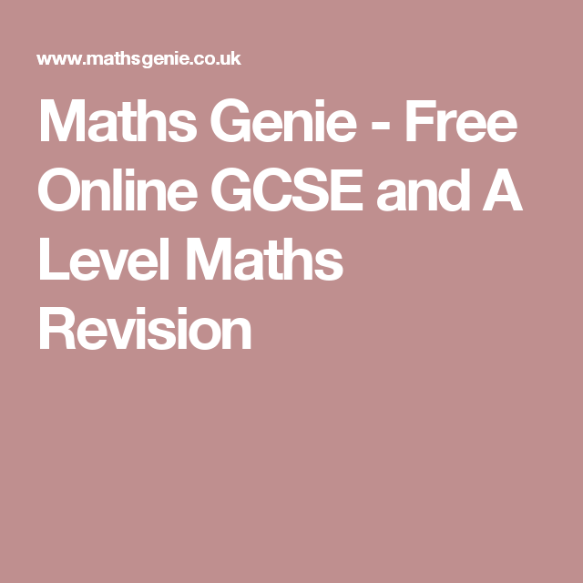 Maths Genie - Free Online GCSE and A Level Maths Revision | boeke