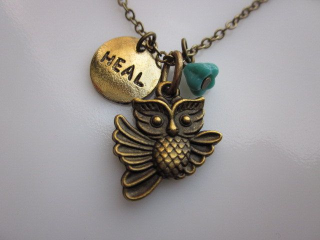 Healing Owl Necklace Flying Owl with HEAL Tag by lovespelljewels. $7.50, via Etsy.