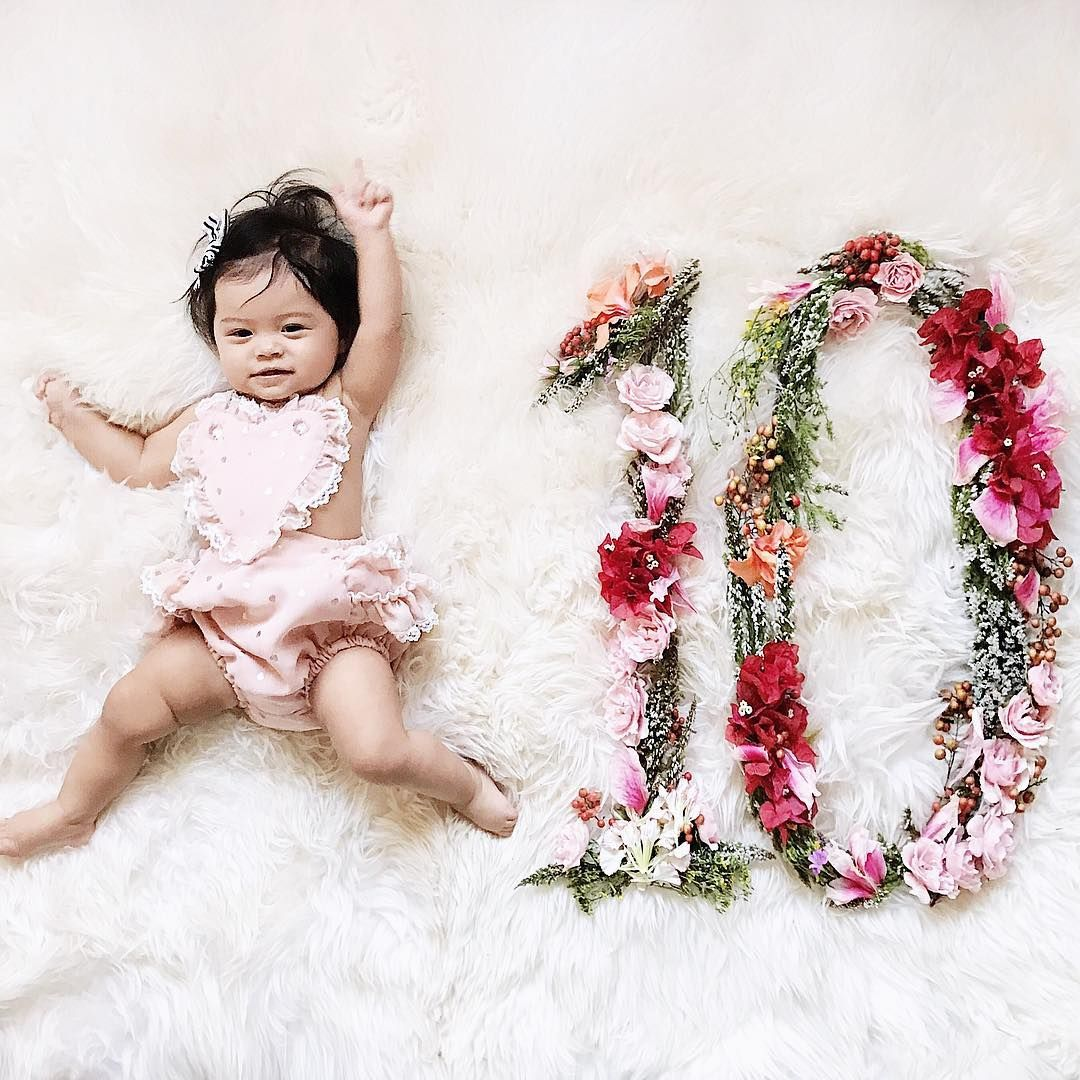 Pin By Ariana Cutrone On Siena Milestone Ideas Baby Photos With Flowers Monthly Baby Pictures Newborn Flower