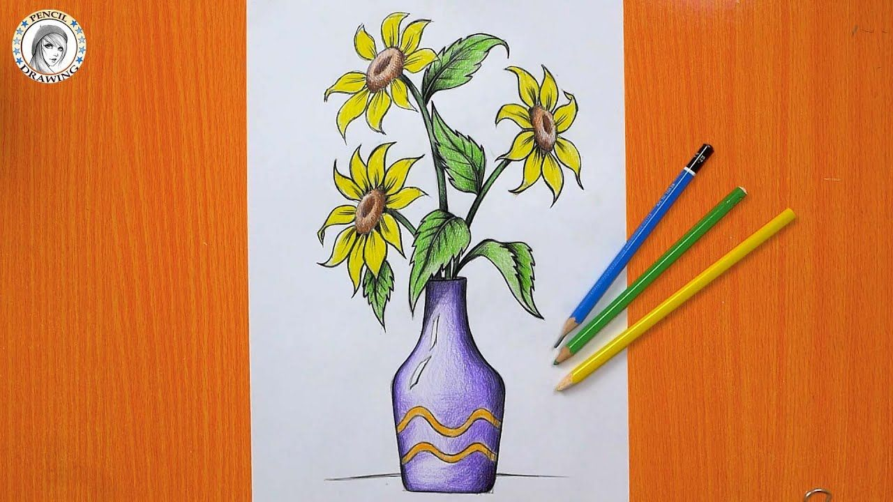 How To Draw Flowers Draw A Sunflower Drawing A Vase رسم مزهرية ز Flower Drawing Sunflower Drawing Drawing For Beginners