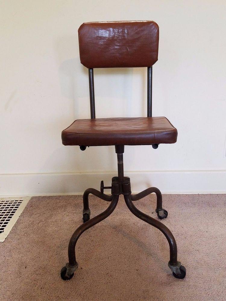 Vintage Industrial Mid Century Modern Steel Aluminum Office Deck Chair  Swivels