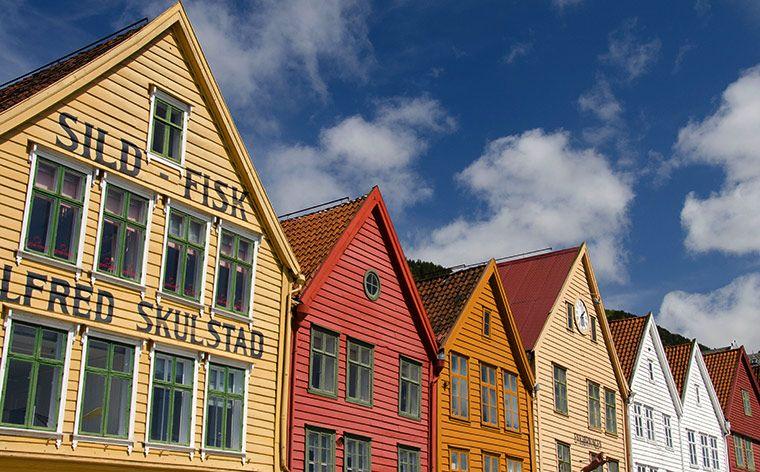 Casas no cais em Bergen, Noruega