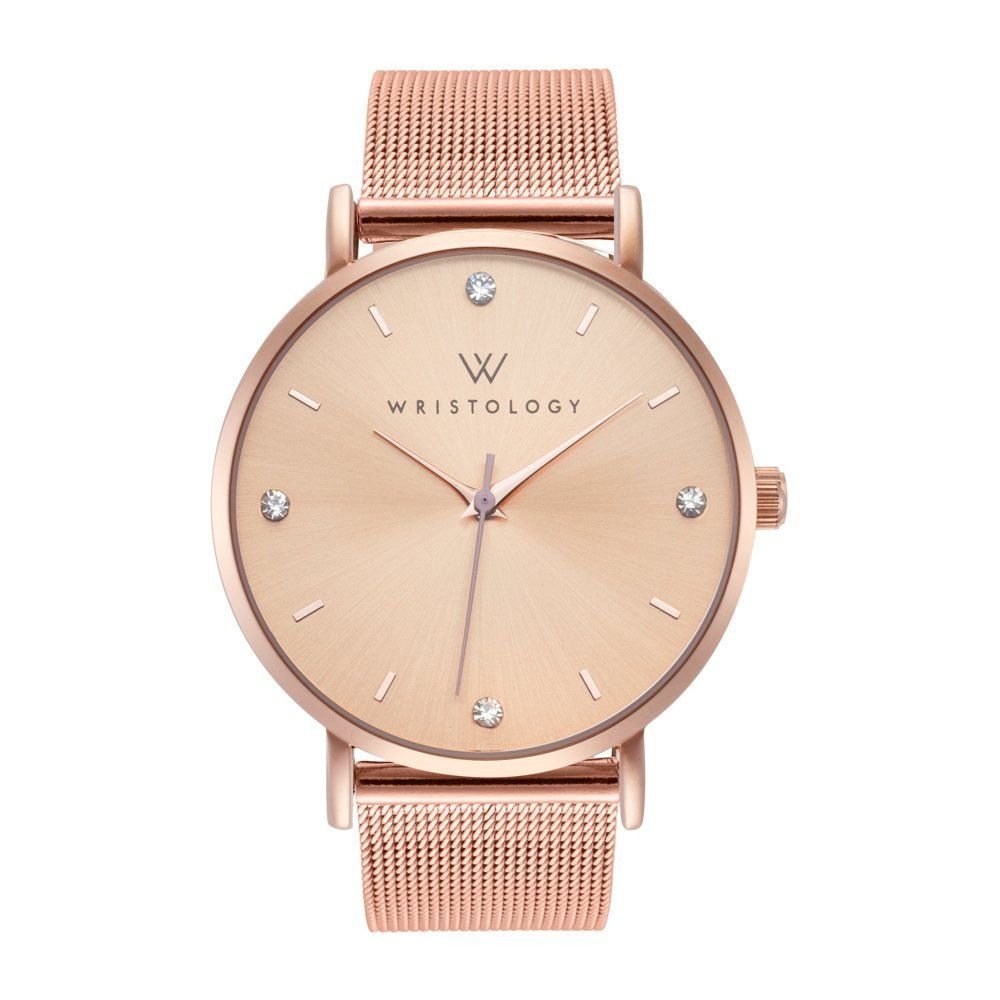 31ad715d20d WRISTOLOGY Olivia Womens Crystal Boyfriend Watch Rose Gold Mesh Changeable  Strap Band -- Be sure