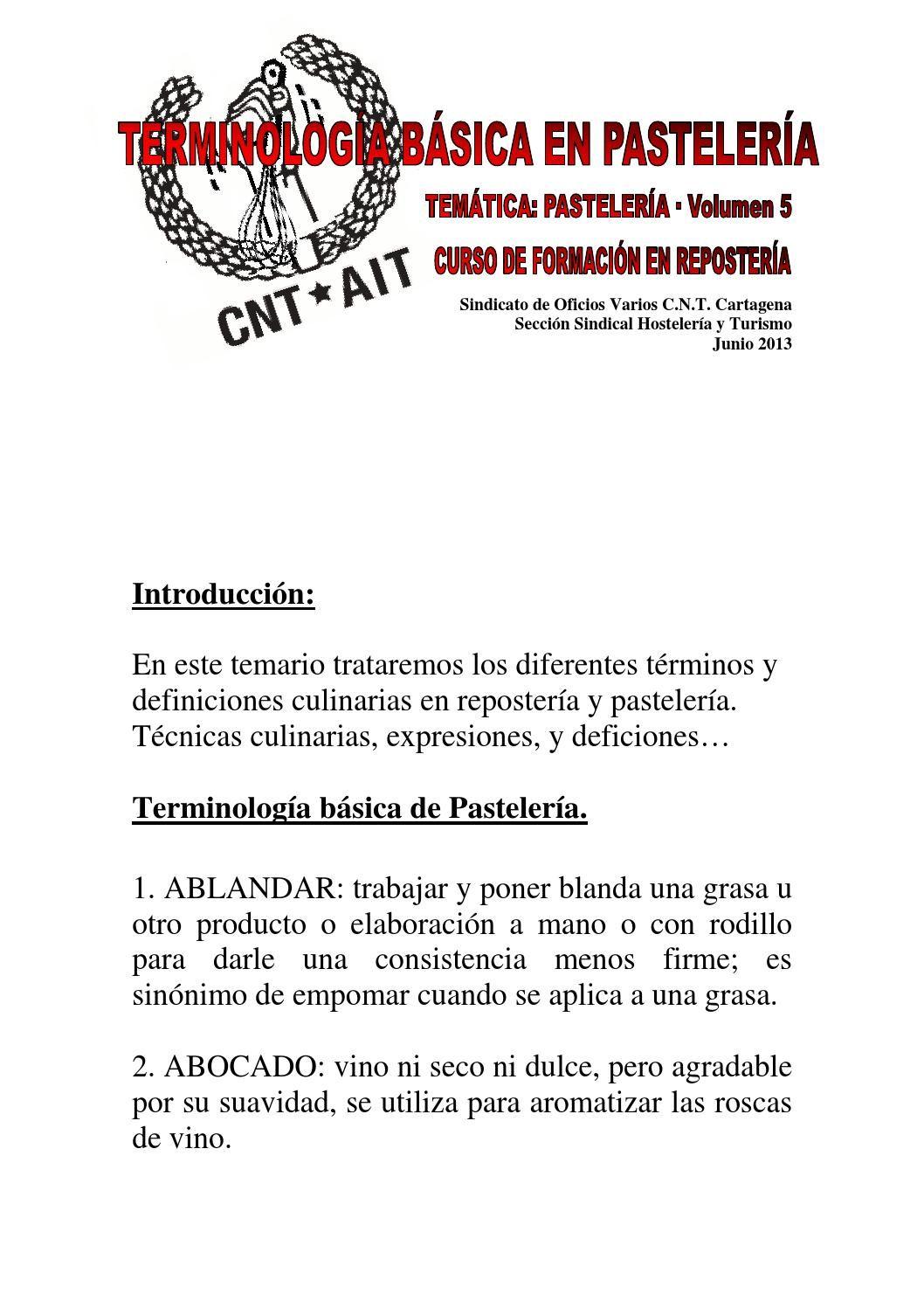 Terminología básica en pastelería y repostería curso repostería vol 5 de 5 cnt cartagena