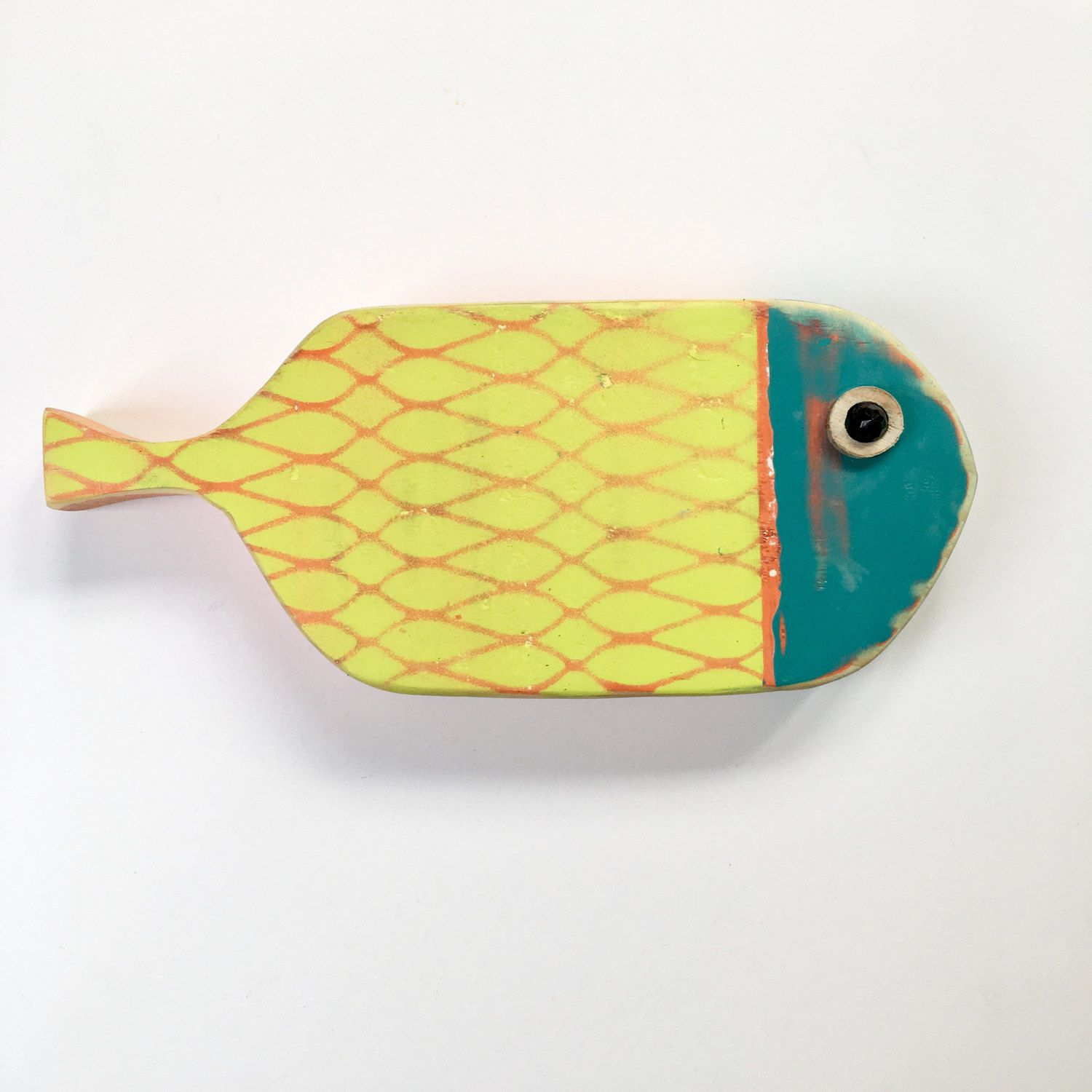 Whimsical driftwood folk art fish for wall and interior decor ...