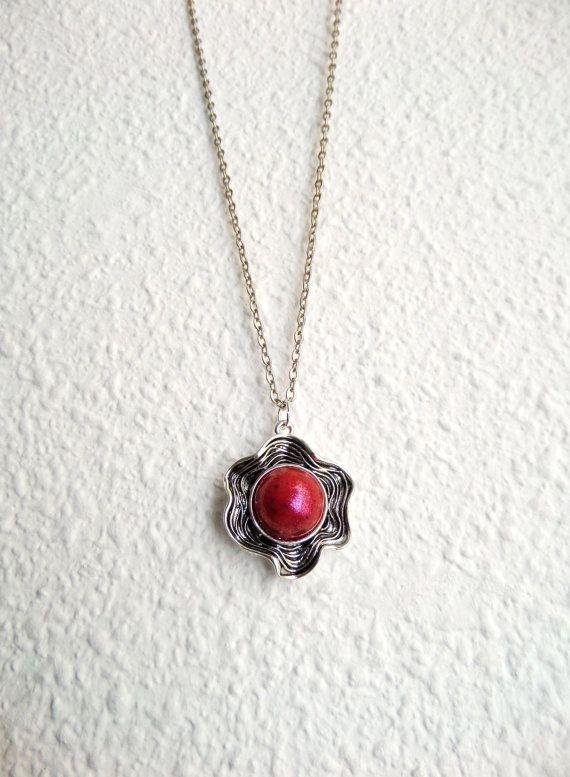 Silver Flower Necklace, Tibetan Silver Flower Jewelry, Glitter Flower Pendant, Engraved Jewelry, Sparkly Necklace, Glitter Jewelry for Girls