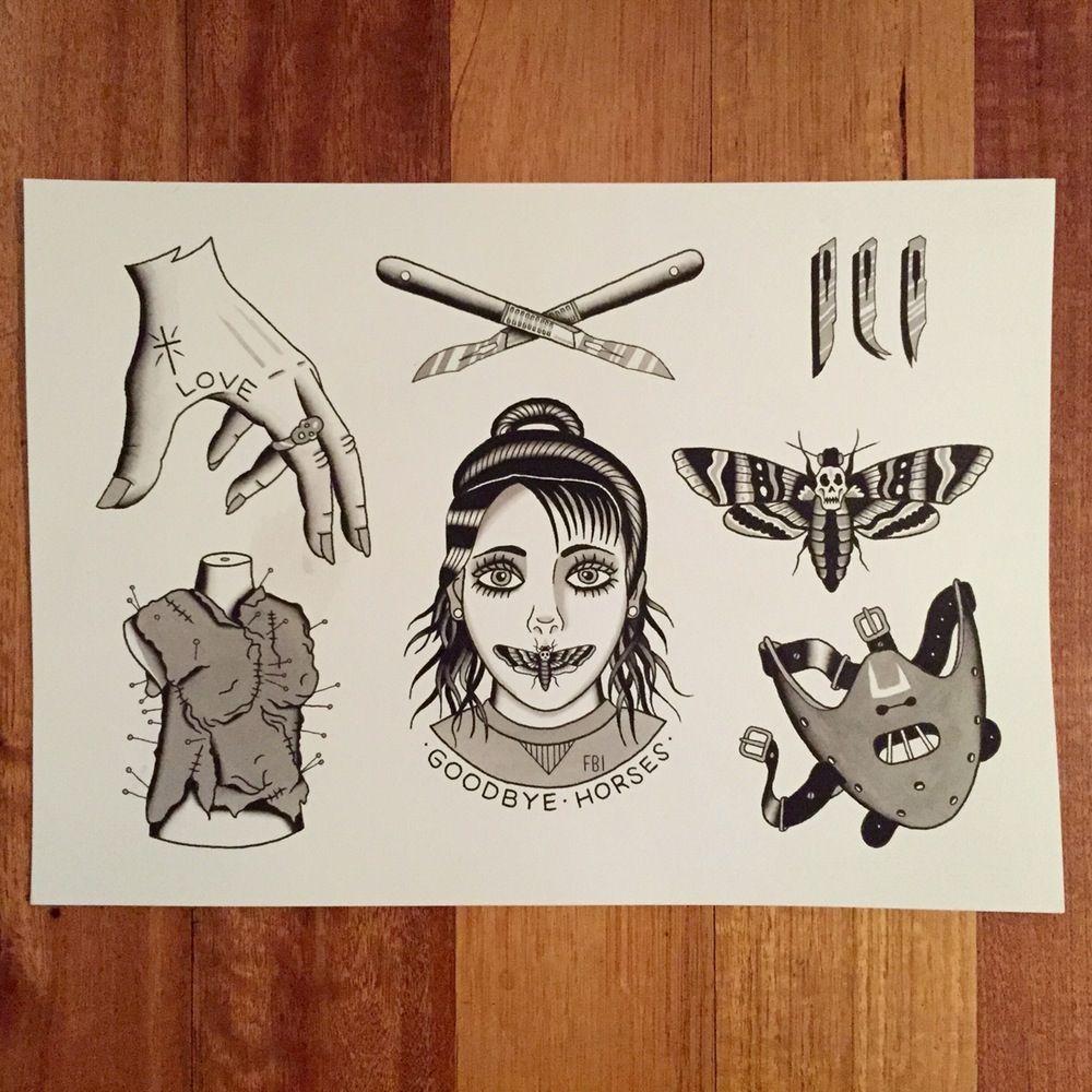 Image of HANNIBAL FLASH ORIGINAL PAINTING Lamb tattoo
