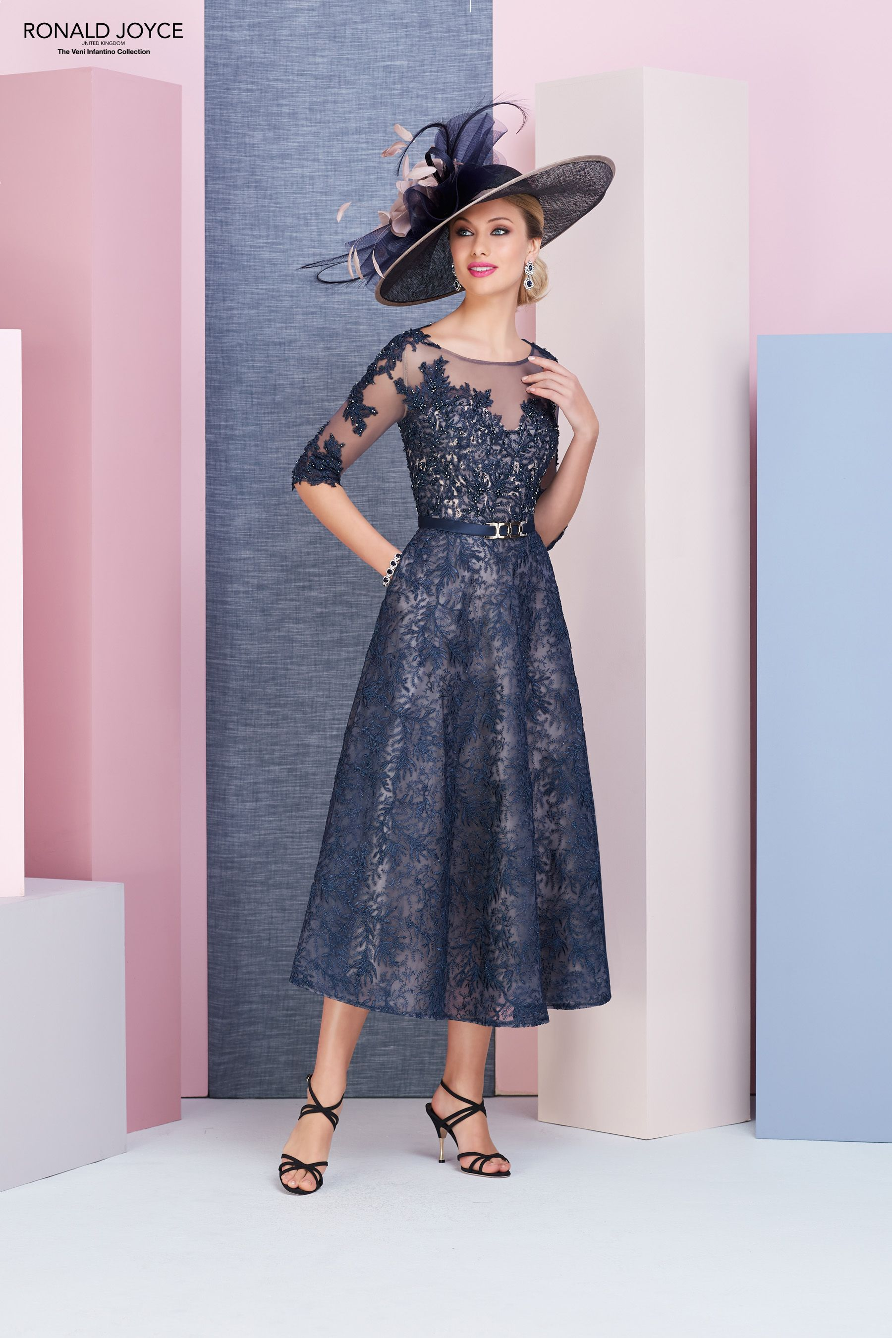 fb49c085d73c ... Joyce style 991371 Fabulous tea length wedding outfit in beautiful navy  lace over nude lining. Coming soon The perfect wedding outfit for the Mother  of ...