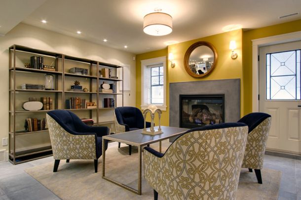 Benjamin Moore Autumn Gold Basement Living Rooms And Blue Lounge