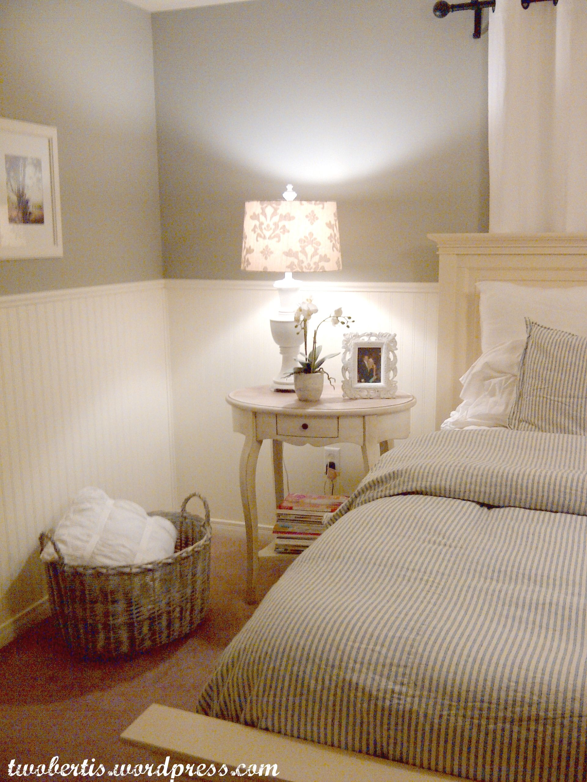 Wainscoting master bedroom - Pottery Barn Inspired Master Bedroom Makeover