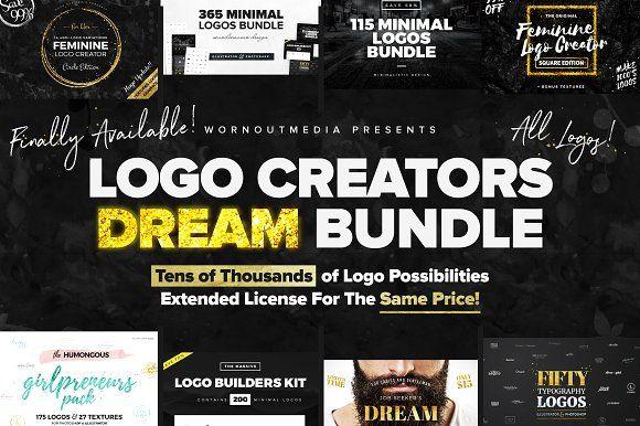 Logo Creators Dream Bndl (All Logos) by WornOutMedia Co. #logocreator #logobundle #designbundle #creativebundle
