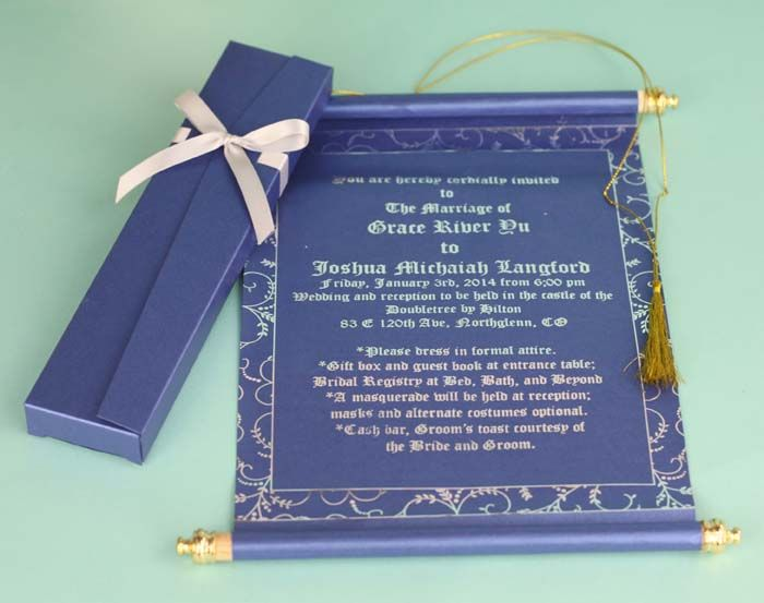 Customized Navy Blue Scroll Wedding Invitations Indian Muslim
