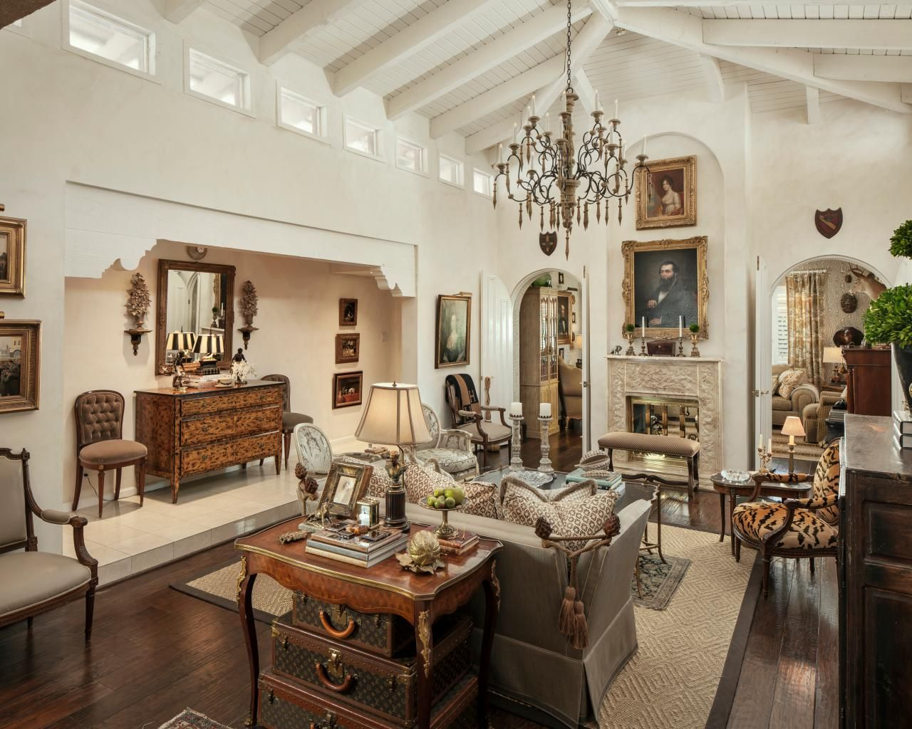 Traditional country french living room featuring high - What is french country style ...