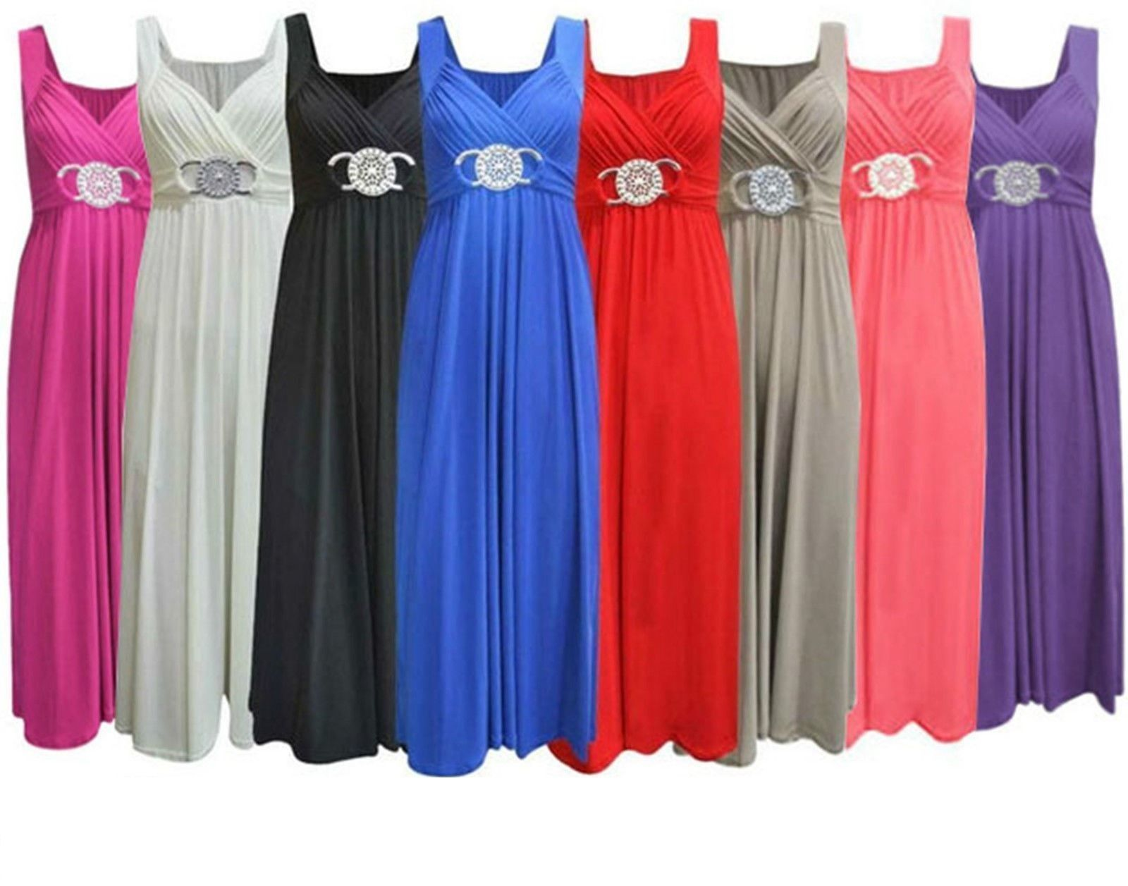 Womens bridesmaid long party prom cocktail evening buckle maxi dress