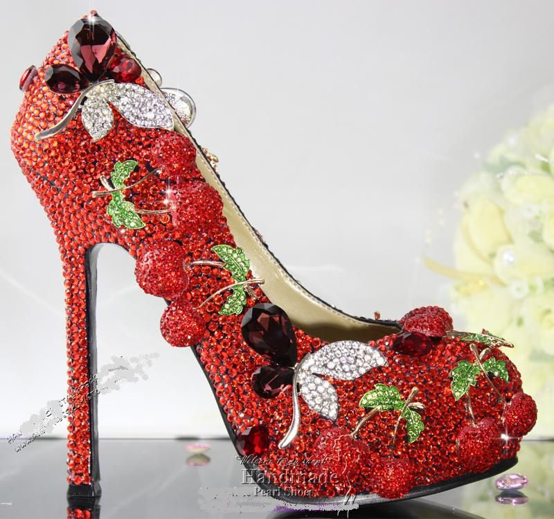 Swarovski Wedding Shoes Red Crystal High Heels By