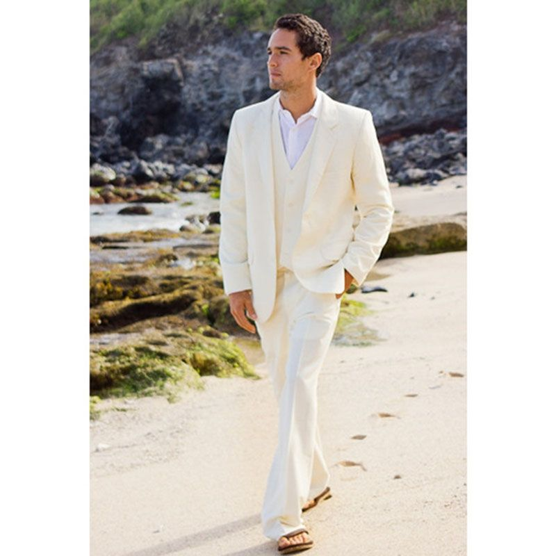 2017 Latest Coat Pant Designs Ivory wedding suits for men Beach ...