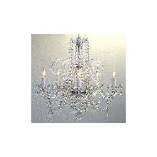 Found it at Wayfair - 5 Light Crystal Chandelier 159.95 same as scrapbook room bought at overstock