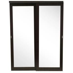 Impact Plus 48 In X 80 In Mir Mel Mirror Solid Core Espresso Mdf Interior Closet Sliding Door With Matching Trim Smme342 4880m The Home Depot Sliding Mirror Closet Doors Sliding Doors Sliding