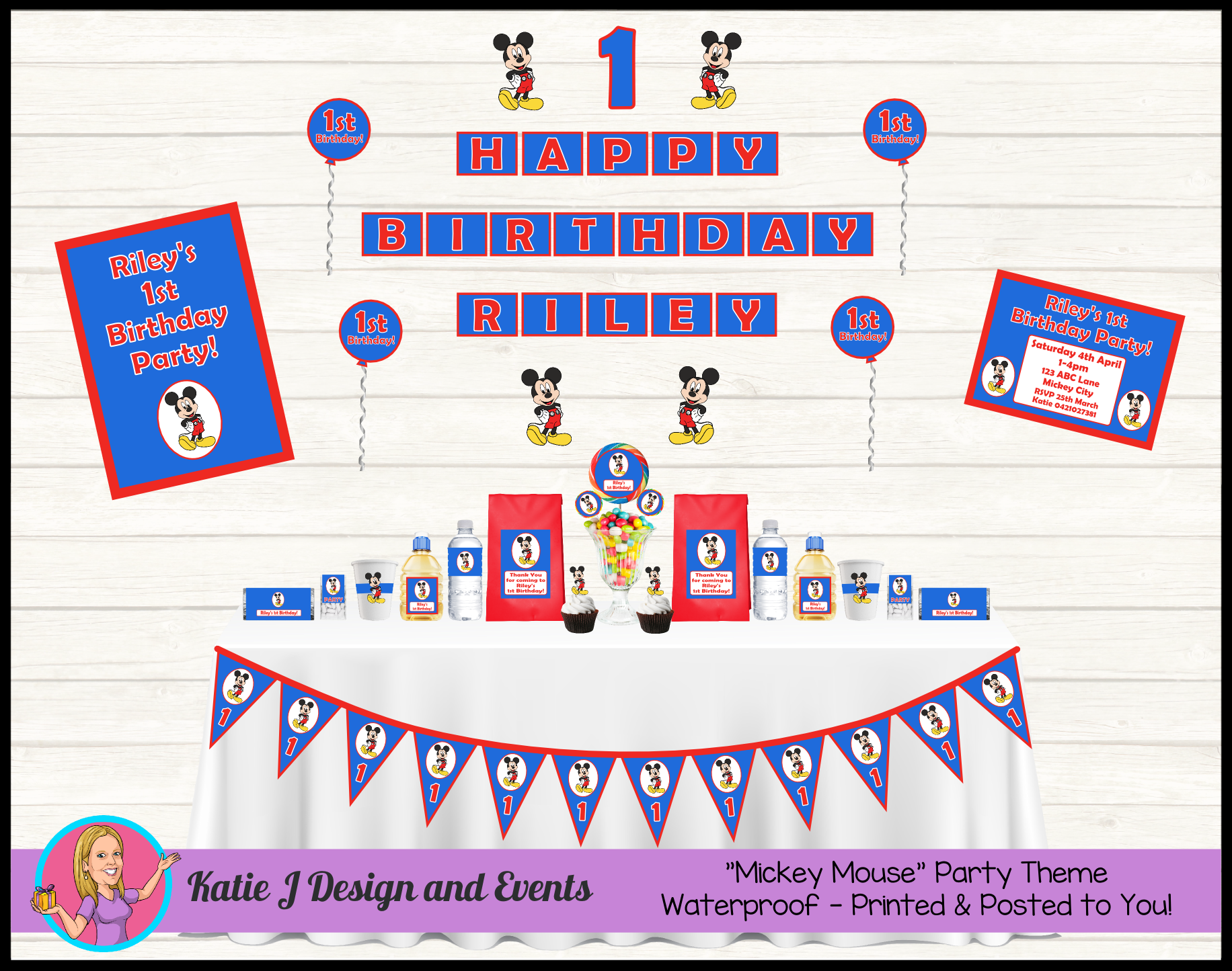 Blue Mickey Mouse Personalised Birthday Party Decorations Supplies Packs Shop Online Australia Banners Bunting Wall Display