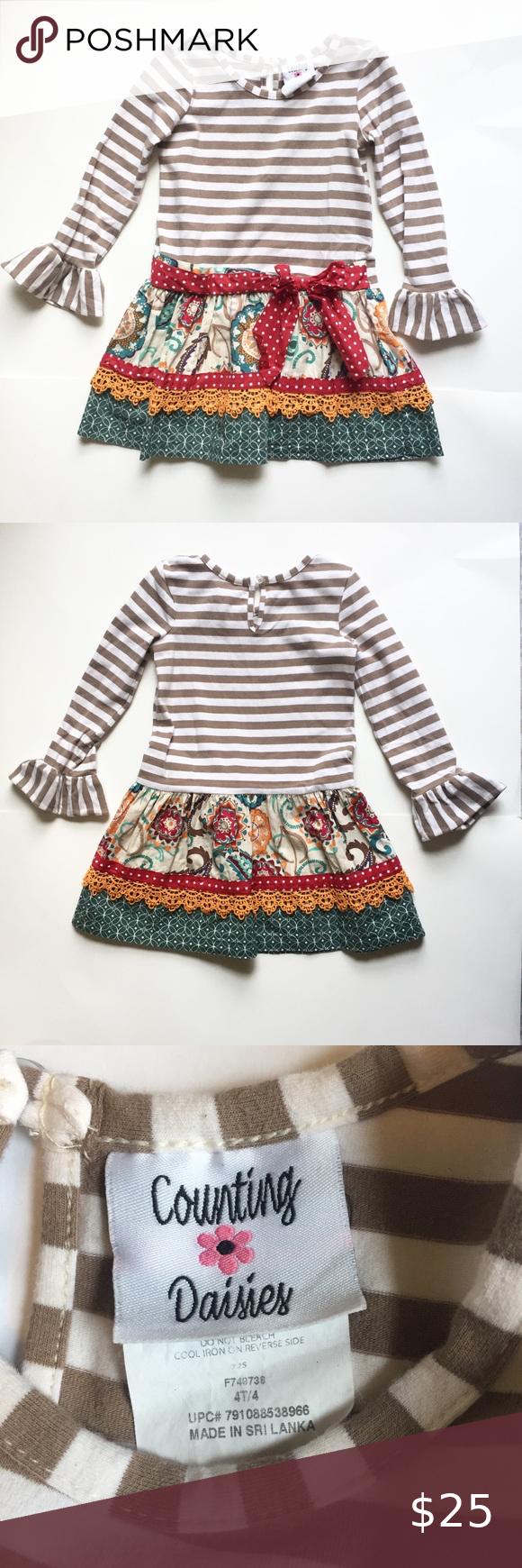 4t Girl Counting Daisies Long Sleeve Dress Long Sleeve Dress Long Sleeve Kids Dresses [ 1740 x 580 Pixel ]