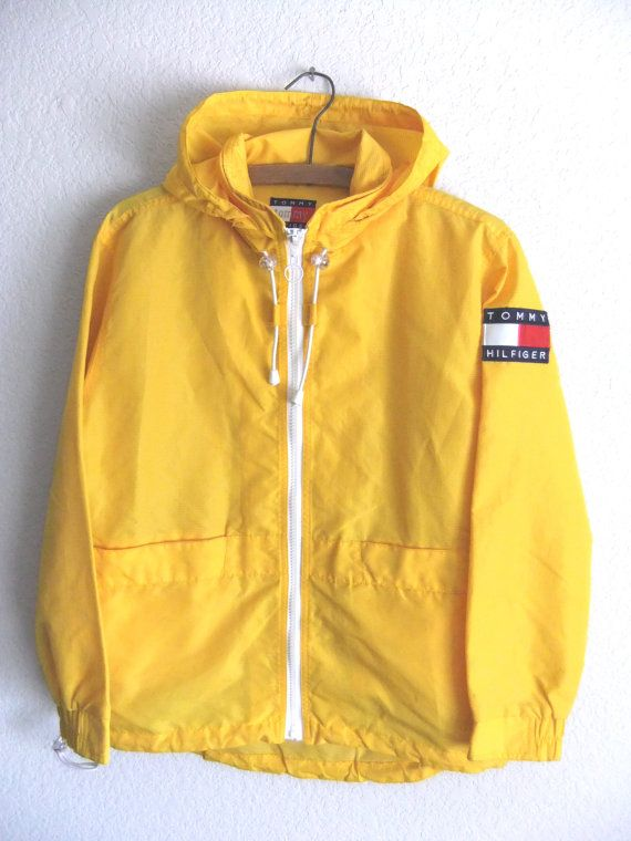 89849a2c6e9 90s Tommy Hilfiger Anorak Raincoat Club Kid Yellow Textured ...