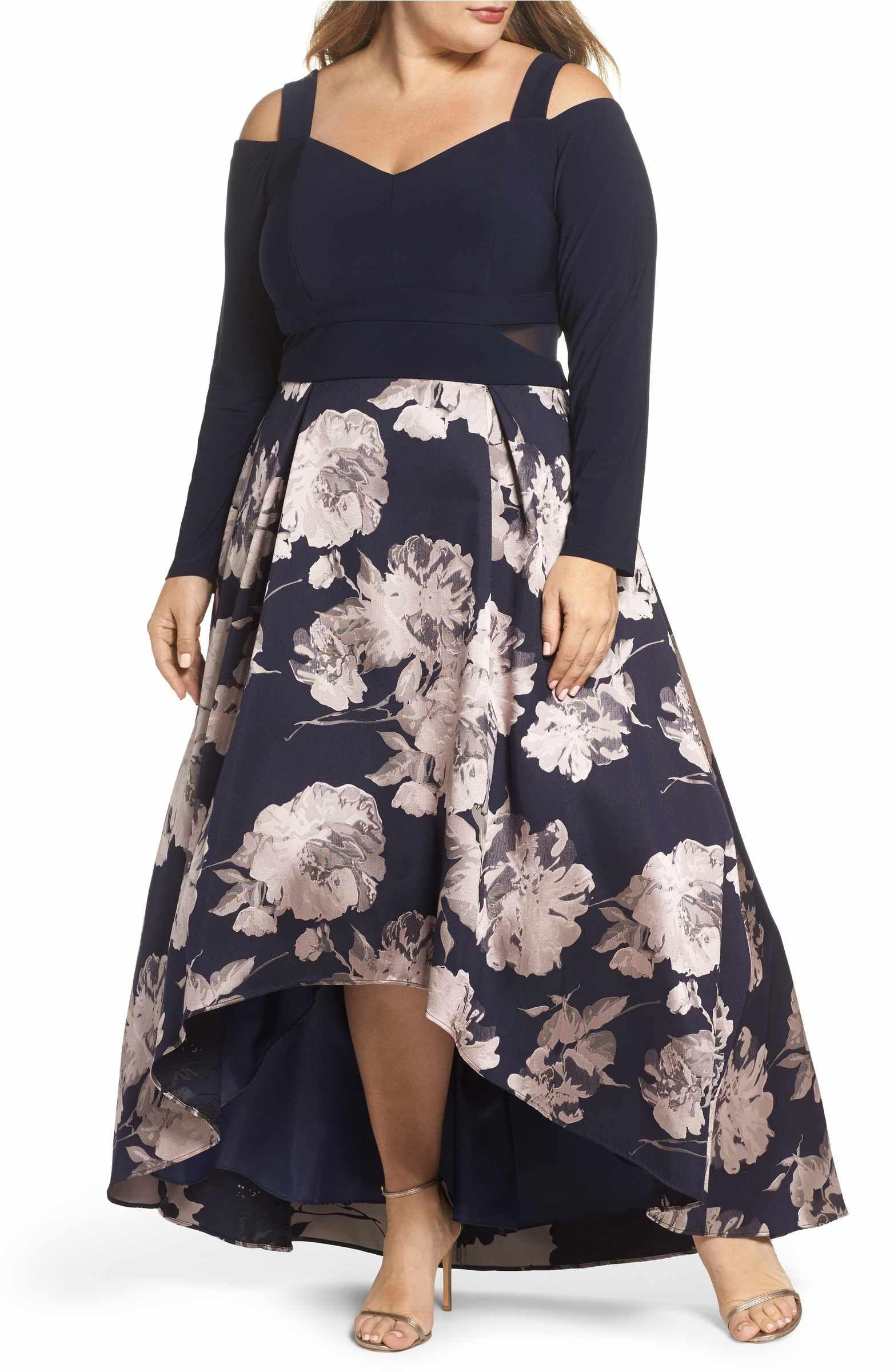 e46439f7d13 Main Image - Xscape Cold Shoulder Brocade High Low Dress (Plus Size ...