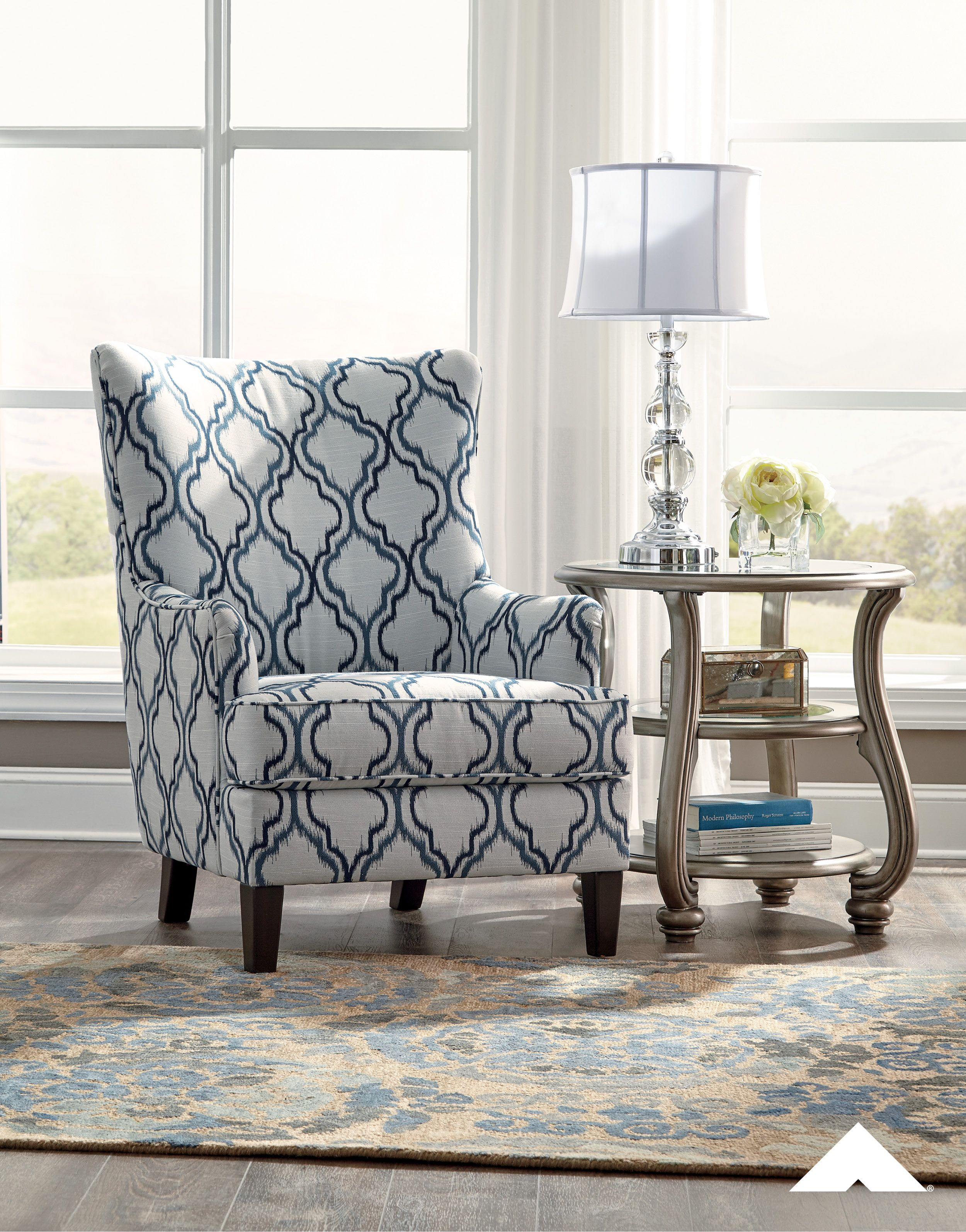 Lavernia Indigo Traditional Accent Chair By Ashley Furniture Ashleyfurniture Homedecor Livingroom Chair Chairs With Images Accent Chairs For Living Room