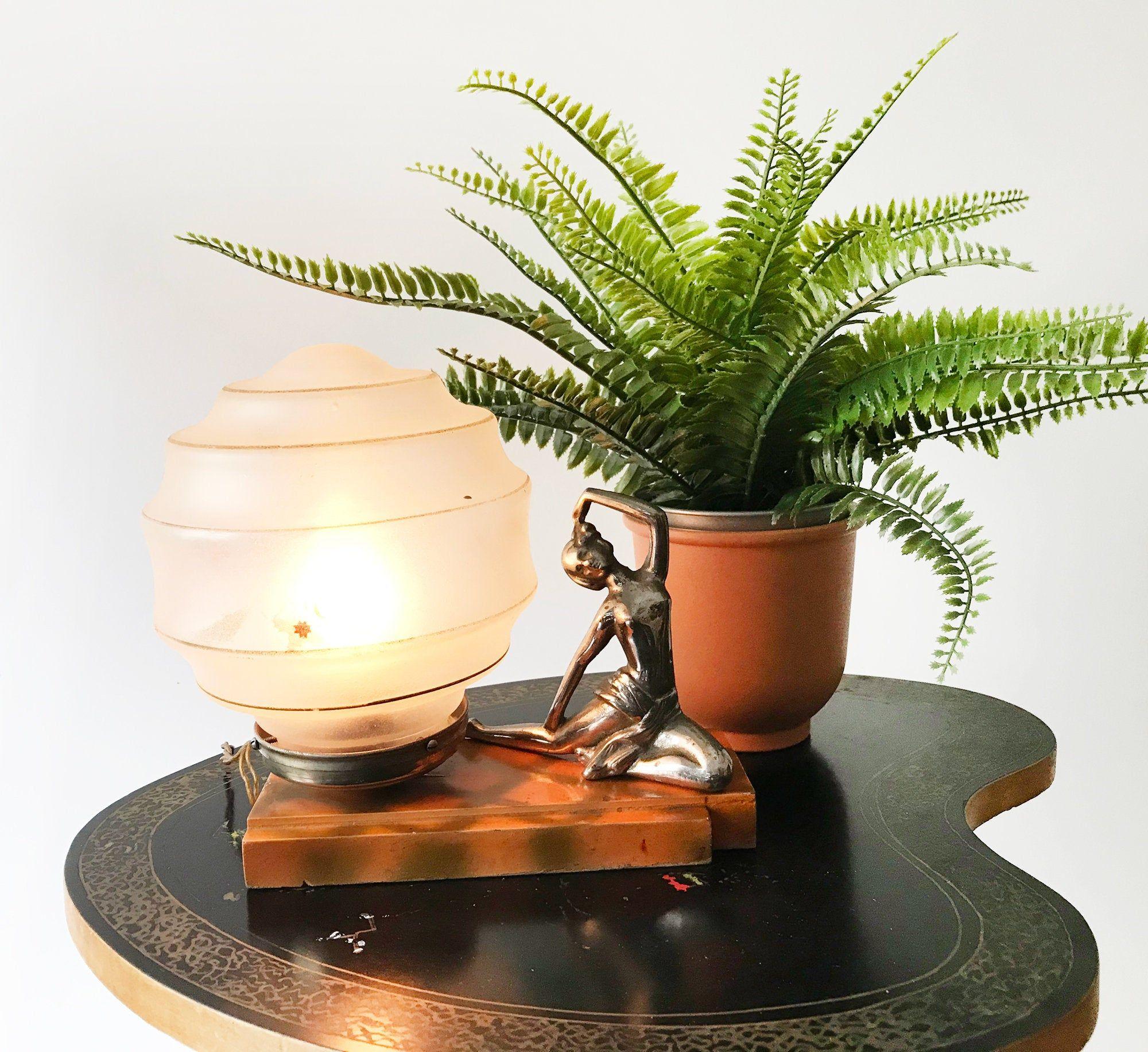 Art deco bedside table lamp lady figurine sculpture