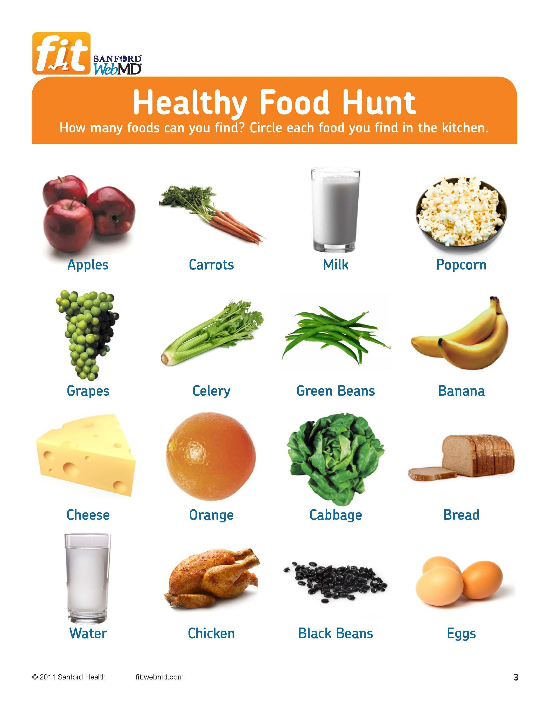 Free printable! Healthy Food Hunt for Grades 3-6 | Thematic