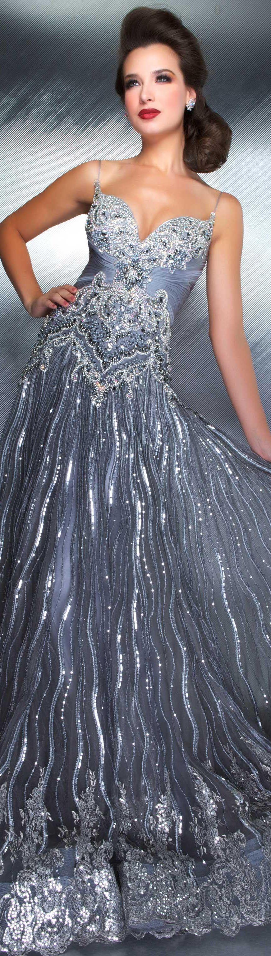 Mac duggal couture dress smoke glitter long formal dress couture