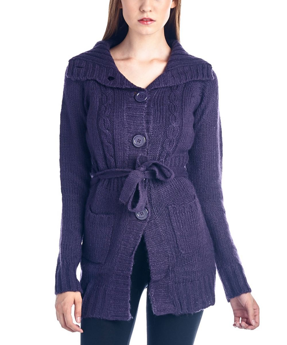 Bleu Ice Purple Cable-Knit Belted Button-Up Cardigan   zulily ...