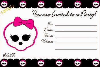 Free Printable Cards Birthday Invitations Monster High