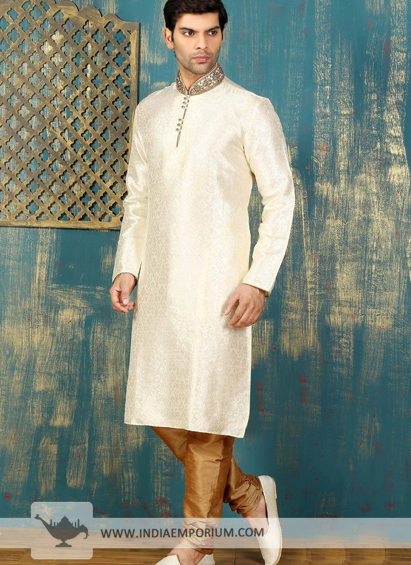 387b9eac72 Handsome Off White & Golden Satin Brocade Churidar Kurta Pyjama. Cream Art  Silk ...