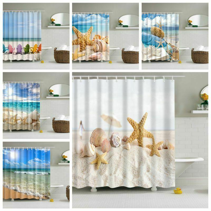 Shower Curtain With 12 HooksBeautiful Blue Sea Beach Waterproof Bath Bathroom