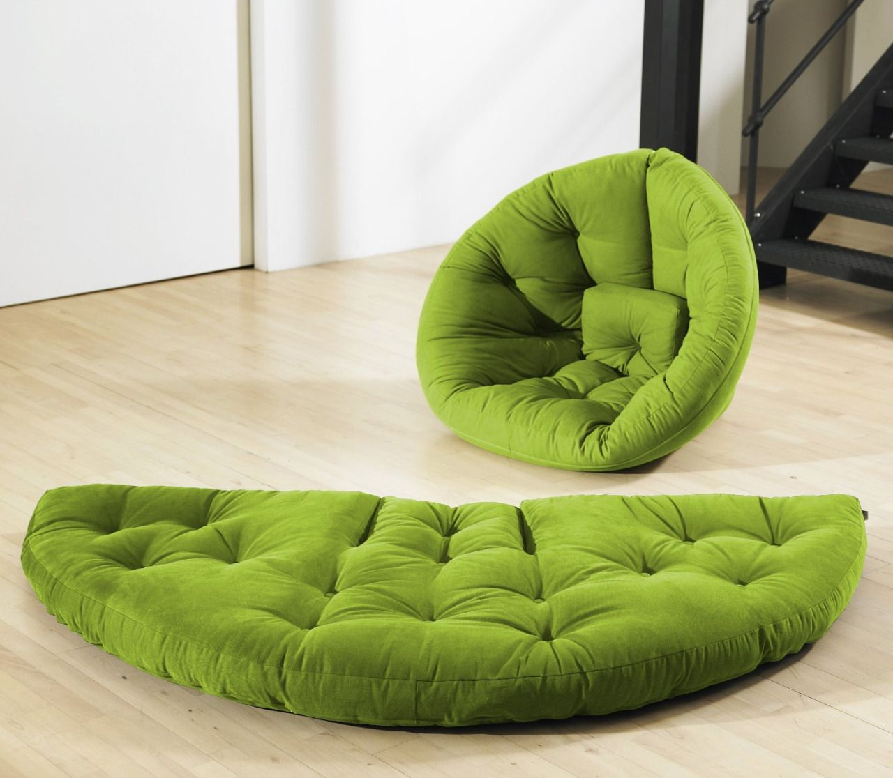 In A Matter Of Mere Seconds, The Chair Can Be Converted Into A Half Circle  Shaped Mattress.