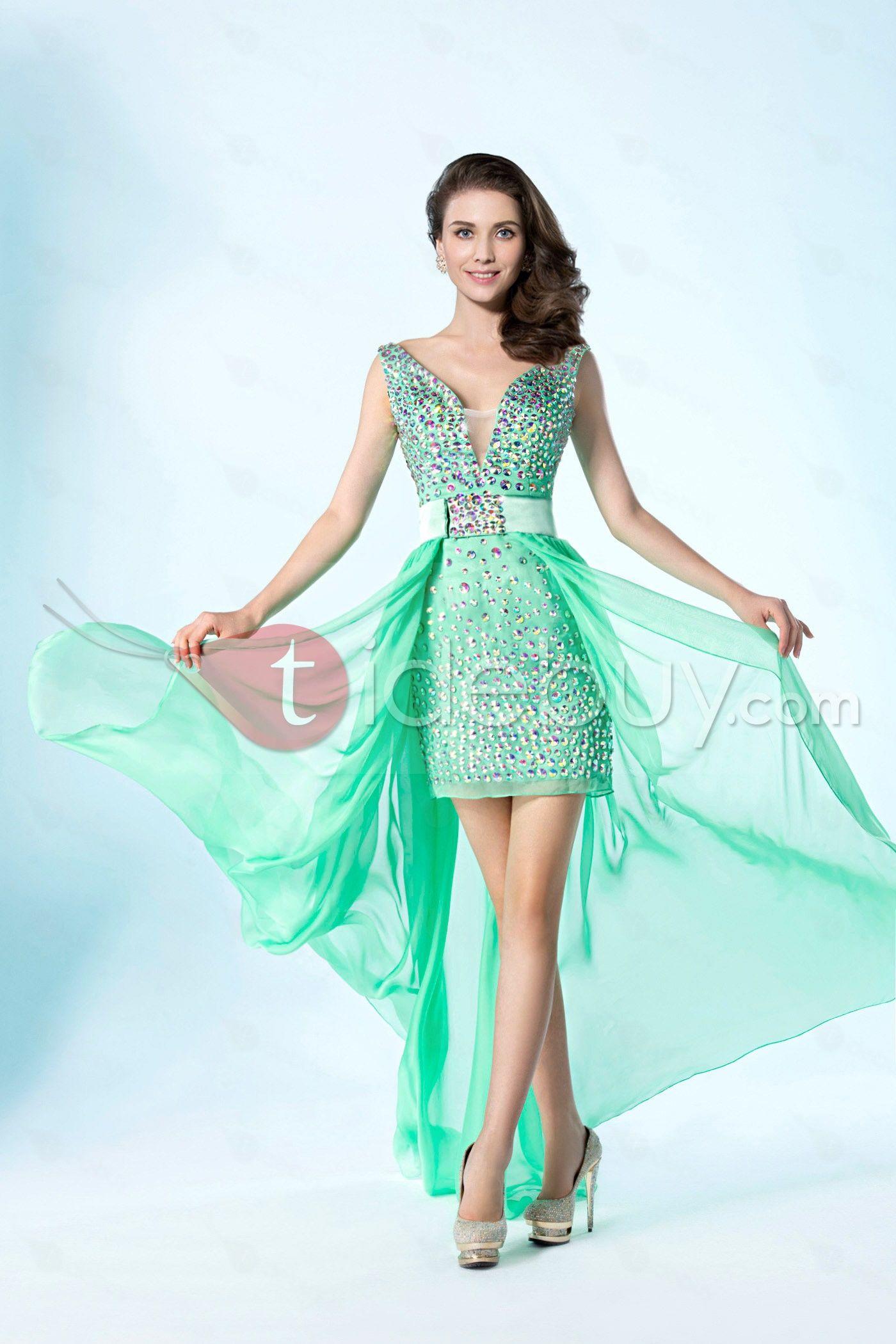 Detachable Column/Sheath V-Neckline Beading Asymmetry Prom Dress ...