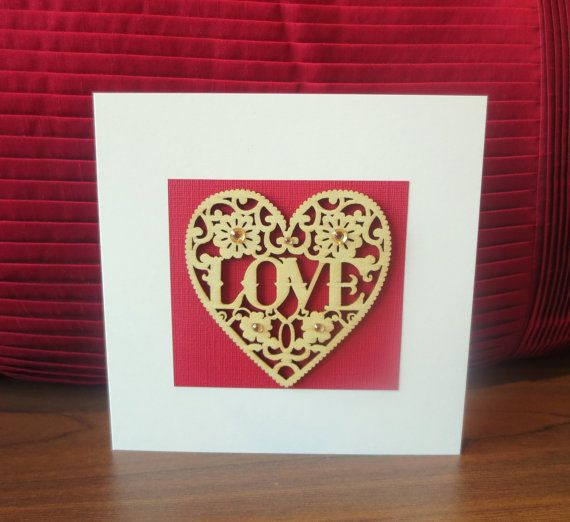 Valentines card love Valentine card her him by FyneHandmadeCards