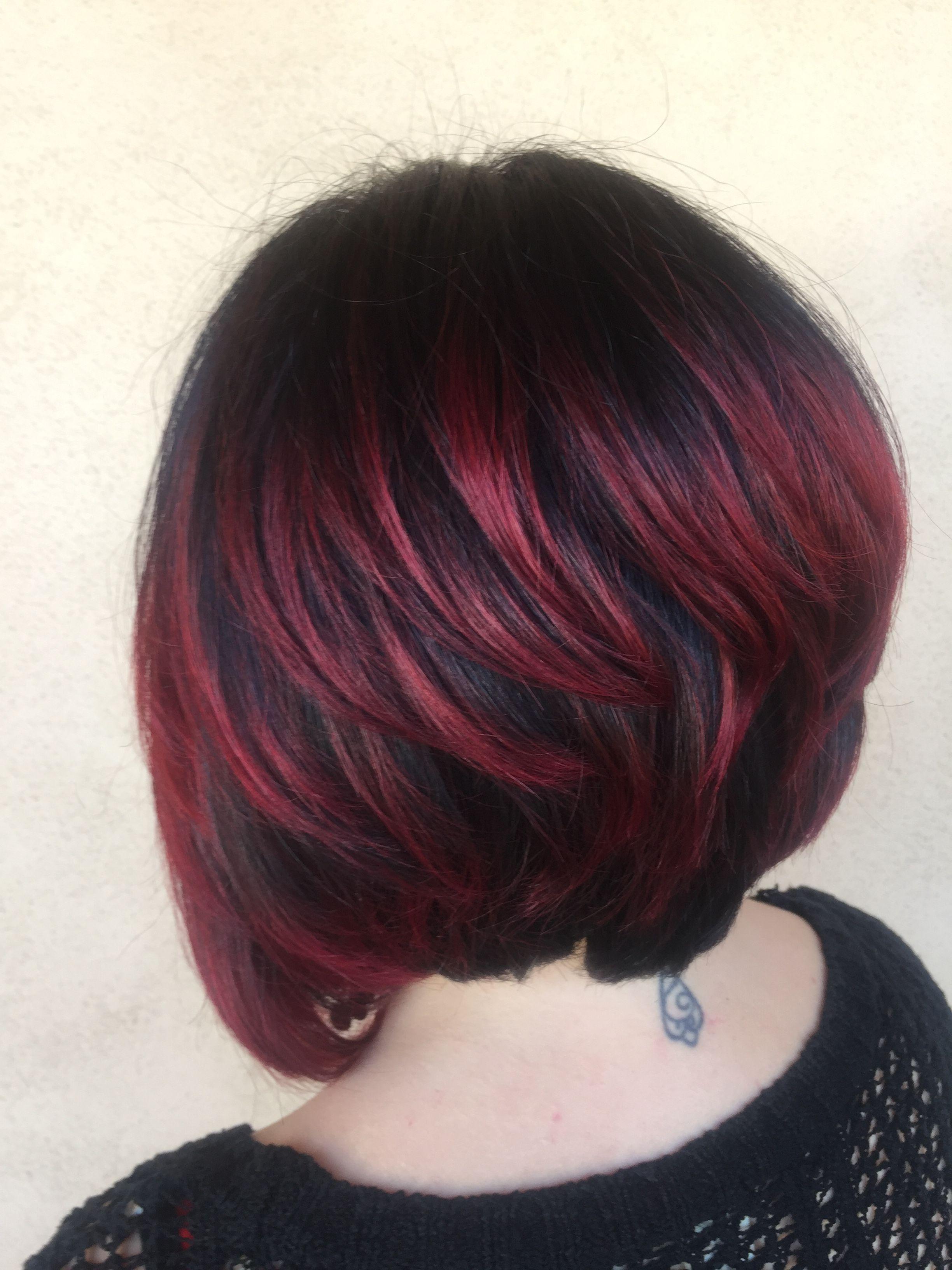 Dark brown to red ombré. Joico color en 2019