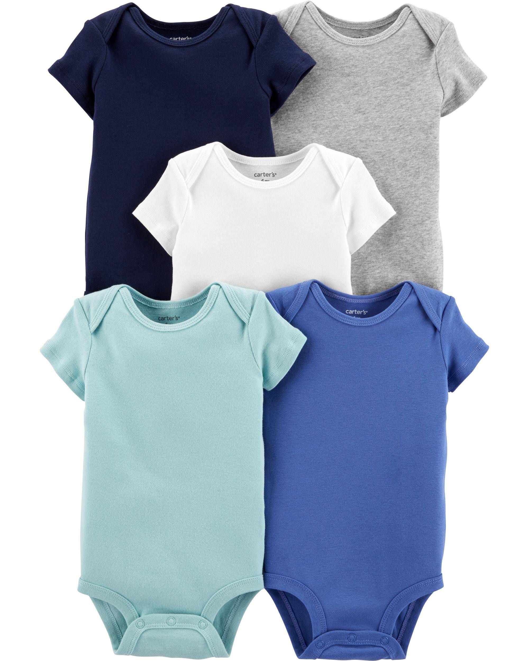 Twins Baby Unisex Organic Cotton Short-Sleeved Bodysuit Pack of 5