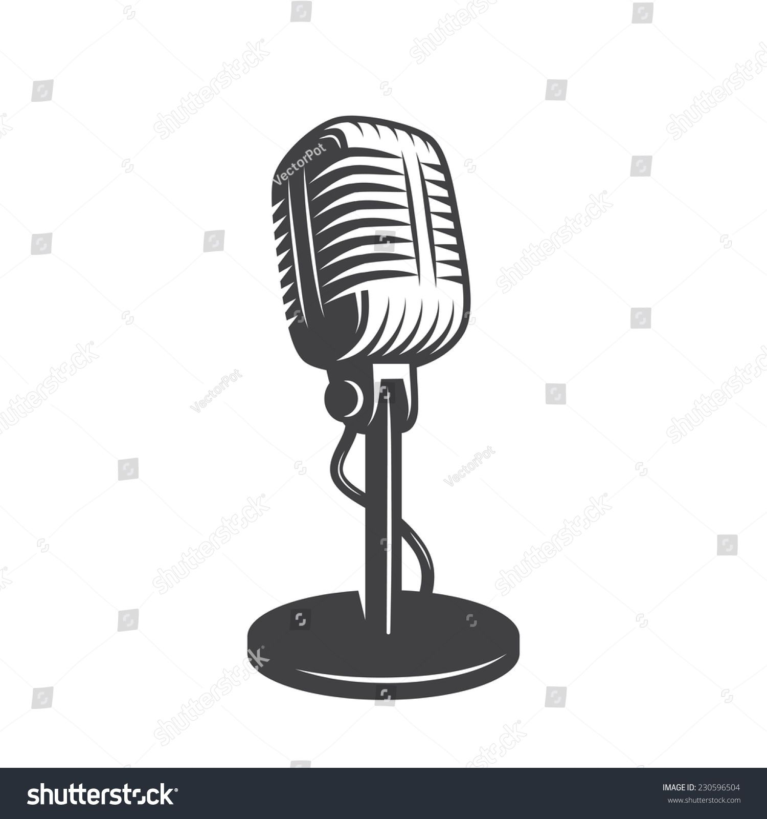 Vector Illustration Of Isolated Retro Vintage Microphone Ad Sponsored Isolated Illustratio In 2020 Concert Poster Design Vector Illustration Vintage Microphone